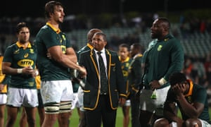 South Africa players and officials look distraught after their 57-0 drubbing by the All Blacks in Auckland on Saturday, a 14th defeat in their last 16 Tests against them.