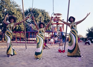 """Jean, Lynda and I are wearing the famous Michael Travis-designed Green Swirls gowns for a playful photo shoot in a Hollywood park (1972)."" – Mary Wilson"
