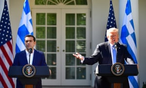 US president Donald Trump at a press conference with Alexis Tsipras, prime minister of Greece.
