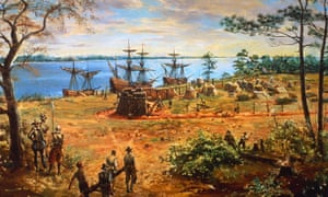 Early settlers carry lumber in Jamestown, Virginia, the first permanent English settlement in America, circa 1610.