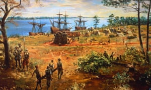 Archaeologists discover remains of jamestown colonys earliest three ships lie at anchor on the river as early settlers carry lumber and raise the publicscrutiny Images