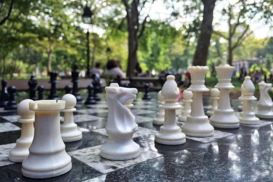 A chess match at Washington Square Park, New York City