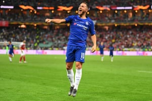 Eden Hazard of Chelsea celebrates after scoring his team's fourth goal.