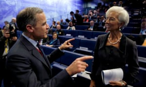 IMF Managing Director Lagarde speaks with Governor of the Bank of England Mark Carney today.
