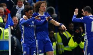 Chelsea s Willian celebrates scoring his first goal against Stoke. 2a857e49e32a4