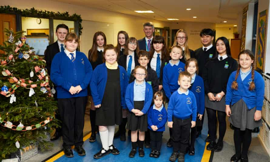Executive head Stephen Tierney with Blackpool pupils