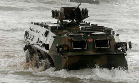 Chinese amphibious armoured vehicles take part in China-Russia joint military exercise