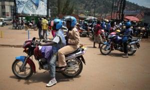 Motorbike taxis in Kigali, Rwanda