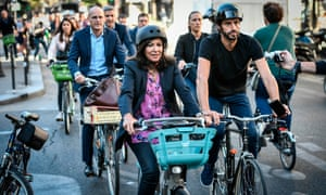 Mayor of Paris Anne Hidalgo, centre, has made efforts to clean up the city's image, but still faces criticism.