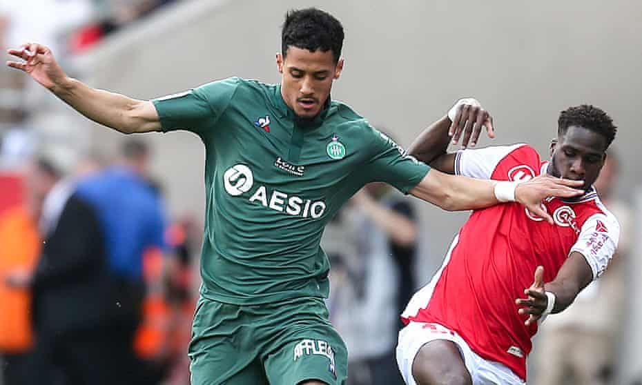 William Saliba (left) tussles with Reims' Boulaye Dia during the Ligue 1 game in April.
