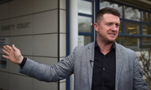 Tommy Robinson outside Peterborough county court on Friday