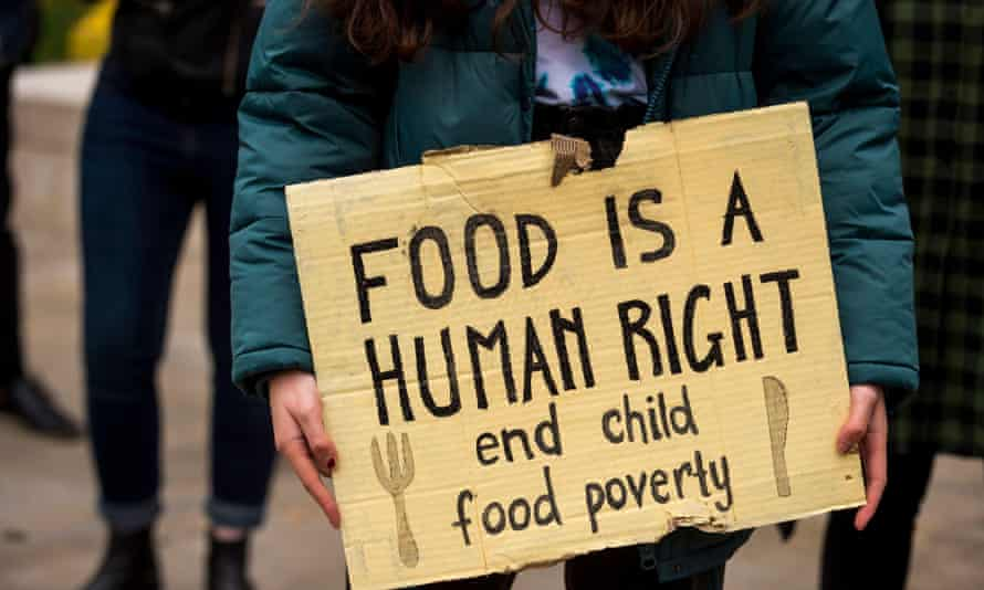 Protest to demand free school meals for during holidays.