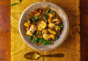 Hake, celeriac and spinach curry by Meera Sodha.