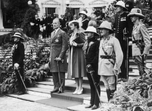 Sir John Arthur Herbert (second left) takes up the post of governor of Bengal, November 1939.