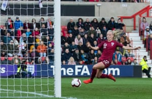 Beth Mead slides in to score against Spain during an international friendly at Swindon's County Ground in April.