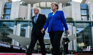 Boris Johnson and Angela Merkel at the Chancellery in Berlin.