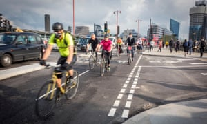 Cyclists using the cycle superhighway on Blackfriars Bridge