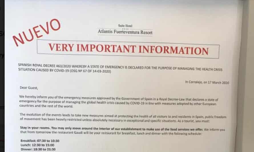 Coronavirus notice to hotel guests in Fuerteventura