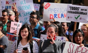 Students at the University of California Irvine demonstrate in support of Daca in 2017.