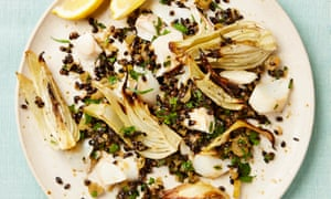Yotam Ottolenghi's roast fennel with black barley and smoked haddock.