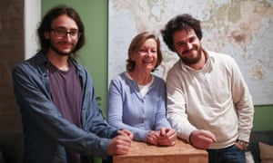 Syrian refugee Jawad Shalghin, left, who is living with 63-year-old Angelika Bauer, pictured with Syrian journalist Hussam Al Zawar