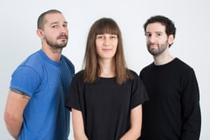 Shia LaBeouf with artistic collaborators Nastja Säde Rönkkö and Luke Turner