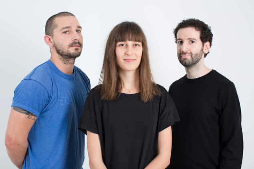 Shia LaBeouf with artistic collaborators Nastja Säde Rönkkö and Luke Turner