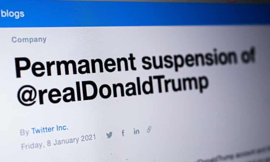 A screen shot of Twitter's announcement that outgoing US President Donald Trump's account has been permanently suspended.