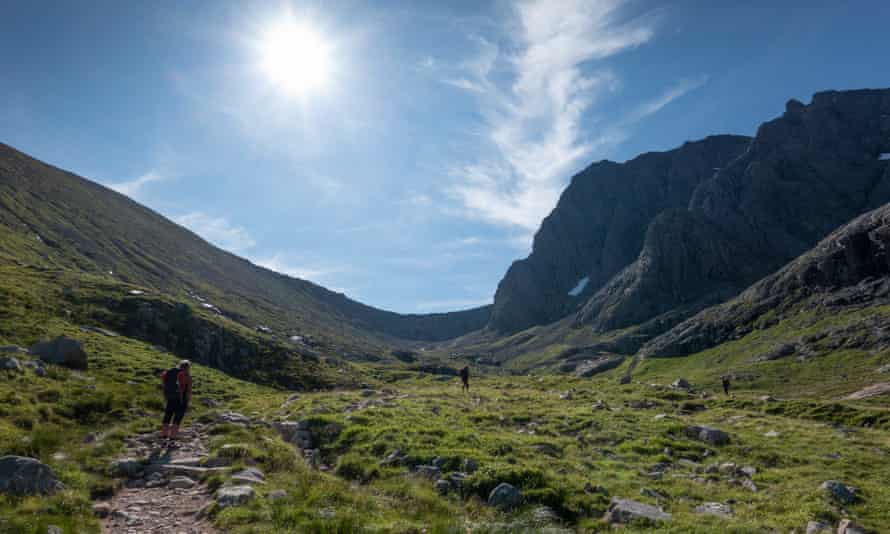 Scramblers and climbers head for Tower Ridge on the North Face of Ben Nevis