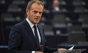 European council president Donald Tusk speaks at the European parliament in Strasbourg on 22 October