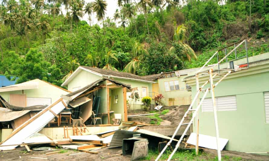 Damage in Sandy Bay, St Vincent and the Grenadines, after the passing of Tropical Storm Elsa.