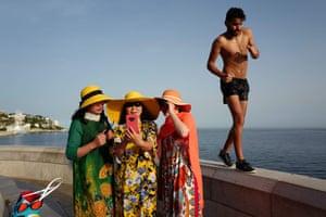 Nice, France Tourists take selfies