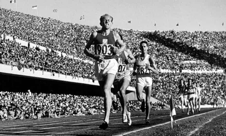 Emil Zatopek won gold in the 5,000, 10,000m and marathon at the 1952 Olympics in Helsinki.