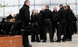 Nottingham prison officers during the walkout over violence against them.