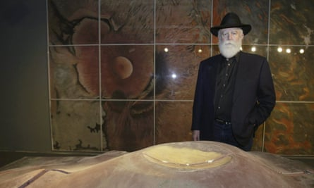 James Turrell near a model of his Roden Crater project.