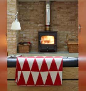 The wood-burning stove in the living room is from clearviewstoves.com.