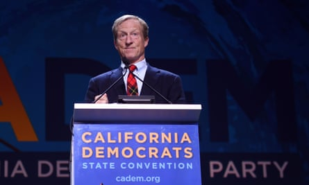Tom Steyer speaks during the 2019 California Democratic party state convention at Moscone Center in San Francisco, California.