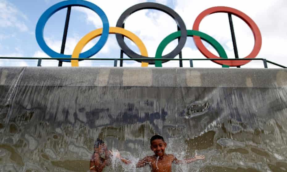 Olympic rings at Madureira Park in Rio de Janeiro