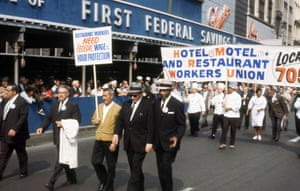 Restaurant workers' march, Woodward Avenue, c 1965