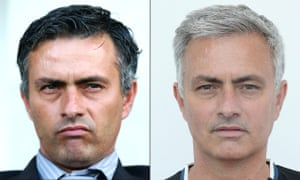 José Mourinho as he was when he first joined Chelsea in 2004 and as he is now at Manchester United