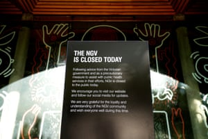 A closed sign is seen out side the NGV on 16 March 2020 in Melbourne, Australia at the onset of the coronavirus pandemic.