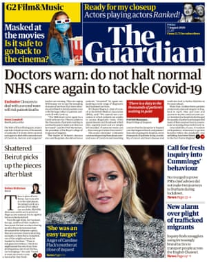 Guardian front page, Friday 7 August 2020