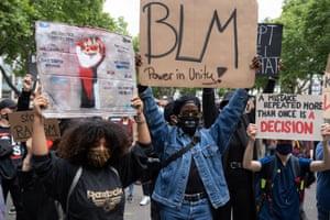 Black lives matter demonstrators in Cologne, Germany, on 7 June 2020.
