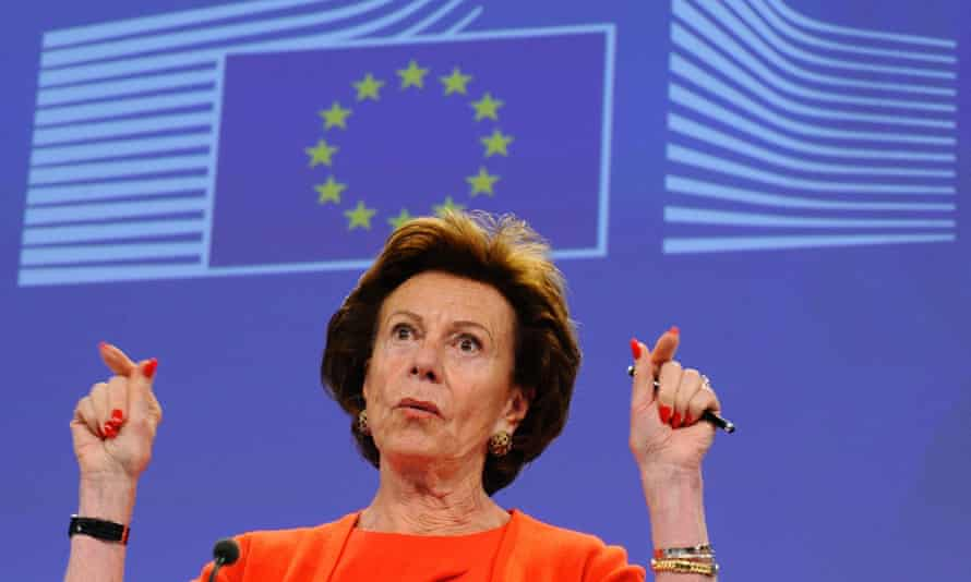 Neelie Kroes pictured in front of an EU flag