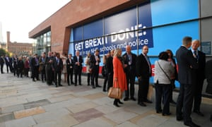 People queuing outside the Manchester convention centre to get into the conference hall where Boris Johnson will be speaking later.