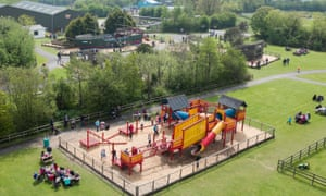 An aerial view of a playground at Folly Farm Park and Zoo in Pembrokeshire
