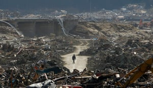 The devastation in Rikuzentakata days after the tsunami in 2011