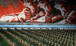 North Koreans in military uniforms perform during the annual 'mass game' in Pyongyang.