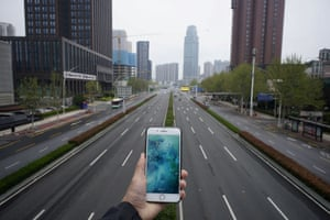 An almost empty road in Wuhan, China
