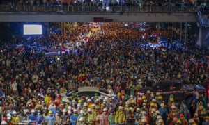 Crowds demand the prime minister's resignation in Bangkok last week.